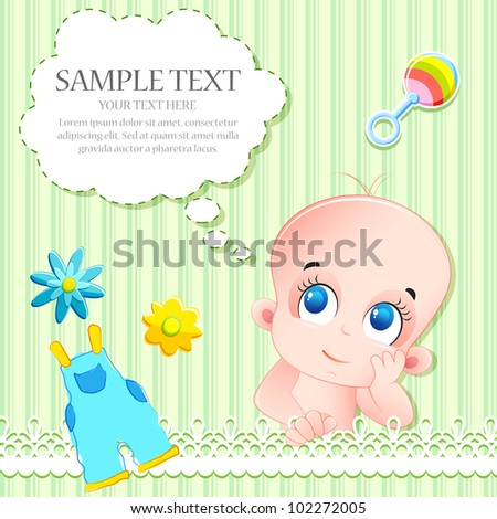 illustration of baby arrival card with baby and toys