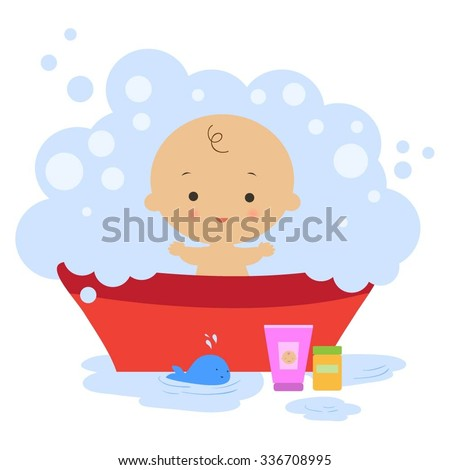 Illustration of baby in a bath with bubbles.  - stock vector