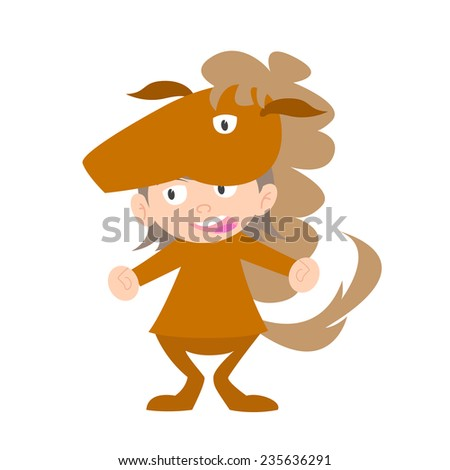 illustration of baby in a horse fancy dress costume vector on white background - stock vector