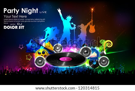 illustration of background for Disco Jockey Party Night - stock vector