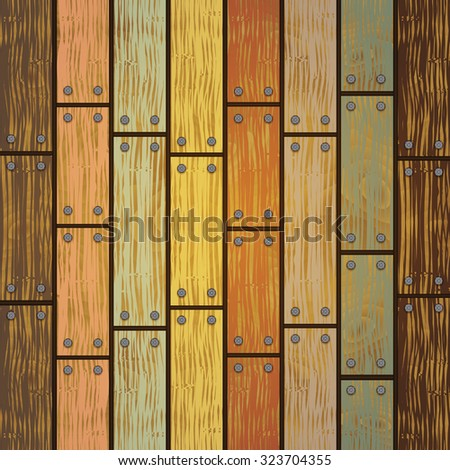 Illustration of background from shabby wooden planks with cracked color paint and nails
