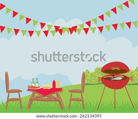 Illustration of backyard barbecue scene - stock vector