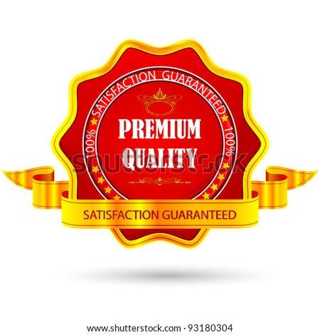 illustration of badge for premium quality with ribbon - stock vector