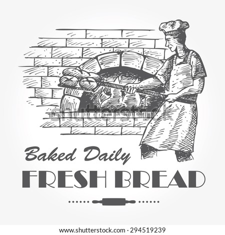Illustration of baker baking breads in a brick oven - stock vector
