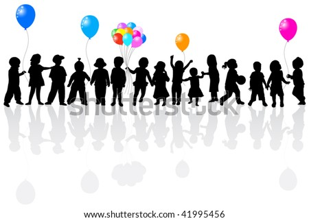 Illustration of balloons and kids - stock vector