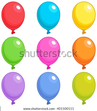 Illustration of Balloons in different colors