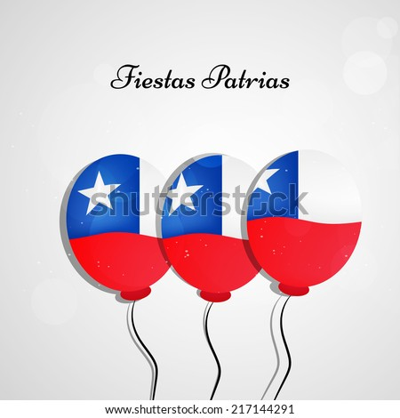 Illustration of Balloons with Chile Flag for Fiestas Patrias