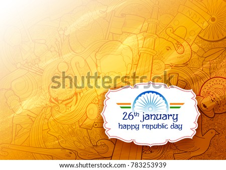 illustration of banner with Indian flag for 26th January Happy Republic Day of India