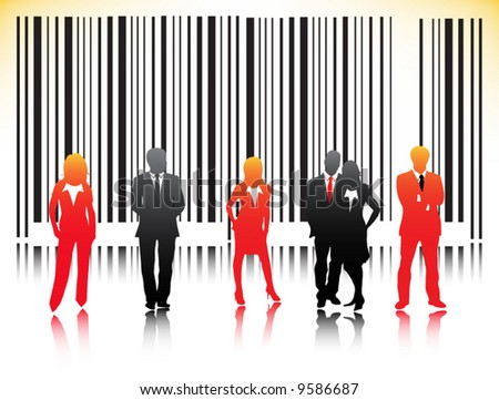 Illustration of bar-code  and business people
