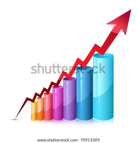 illustration of bar graph with rising arrow on isolated background - stock vector