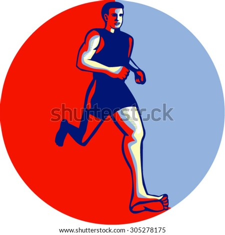 Illustration of barefoot marathon triathlete runner running otherwise known as natural running without footwear facing front viewed from low angle inside circle done in retro style. - stock vector