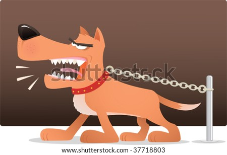 Illustration of barking dog with chain - stock vector
