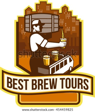 Illustration of bartender carrying keg on shoulder pouring beer from keg viewed from side with van bus and cityscape buildings in the background words Best Brew Tours set inside shield retro style