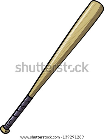 Illustration of baseball bat. Isolated on white