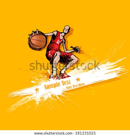illustration of basketball player playing on abstract grungy background - stock vector