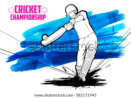 illustration of batsman playing cricket championship - stock vector