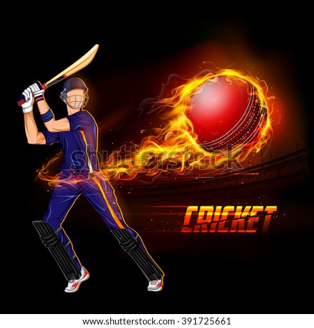 illustration of batsman playing cricket championship with fiery ball - stock vector