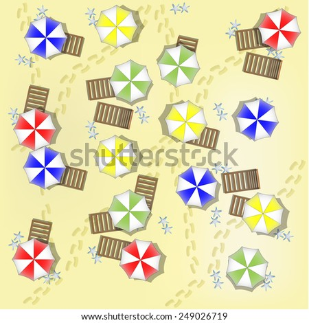 Illustration of beach from above with parasols and beds - stock vector