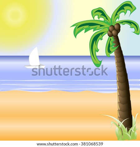 illustration of beach with sand and palm trees in shiny day - stock vector