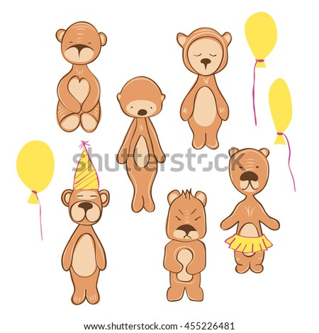 illustration of bear in different pose. birthday style. isolated on white