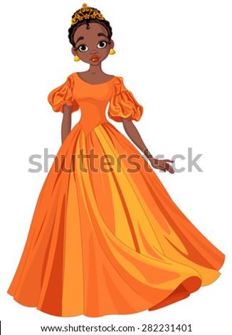 Illustration of beautiful African princess  - stock vector