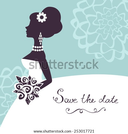 Illustration of beautiful bride with flowers. Save the date card - stock vector
