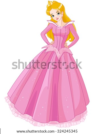 Illustration of beautiful girl dressed Sleeping Beauty costume - stock vector