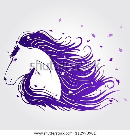 Illustration of beautiful horse with a mane of developing - stock vector
