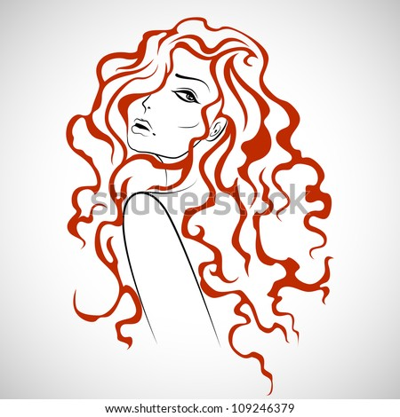 illustration of beautiful lady in with hairstyle - stock vector
