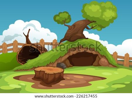 Illustration of beautiful landscape background vector - stock vector
