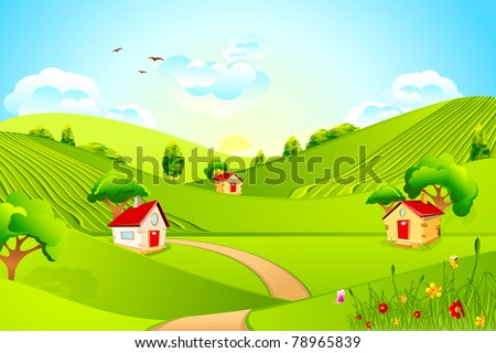 illustration of beautiful landscape with house in grassland - stock vector
