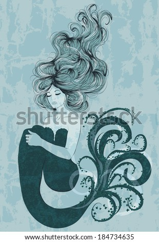 Illustration of beautiful mermaid with long hair - stock vector