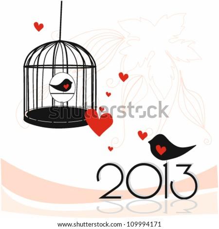Illustration of beautiful 2013  New Year - stock vector