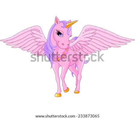 Illustration of beautiful pink Unicorn Pegasus - stock vector