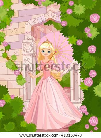 Illustration of beautiful princess at summer day under umbrella - stock vector