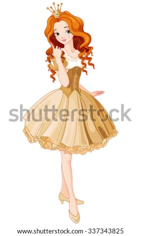 Illustration of beautiful princess dressed gold gown - stock vector