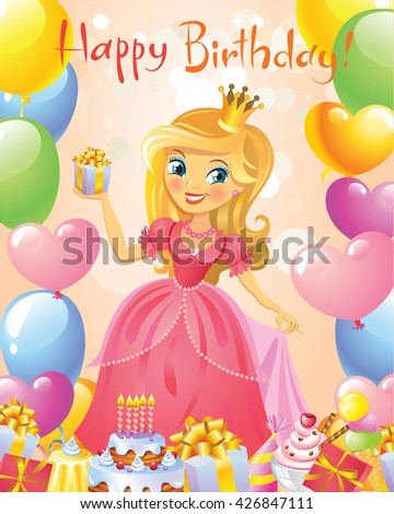 Illustration of beautiful princess keeping a gift in a hand. Possible to use as party invitation, greeting card, banner. Vector illustration.  - stock vector