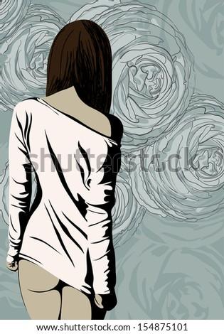 Illustration of beautiful woman posing - stock vector