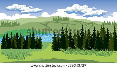 Illustration of beauty landscape with forest and mountain - stock vector