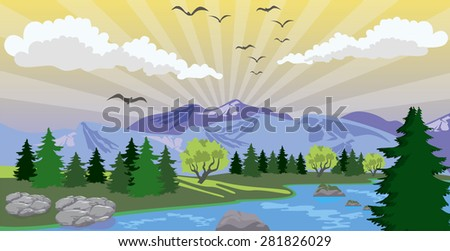 Illustration of beauty landscape with sunrise under lake and mountain - stock vector