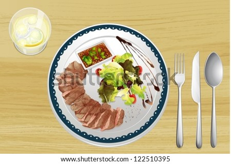 Illustration of beef and salad on a wooden table - stock vector