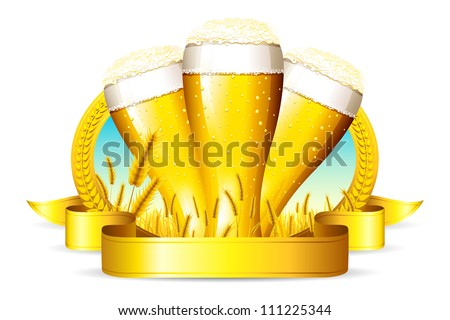 illustration of beer glass with ribbon and barley straw