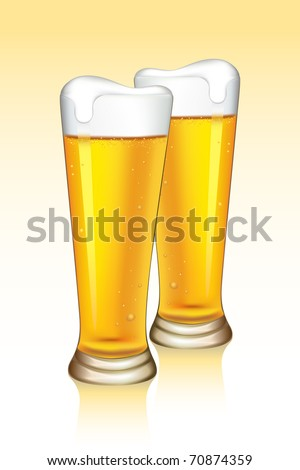 illustration of beer glasses on gradient background