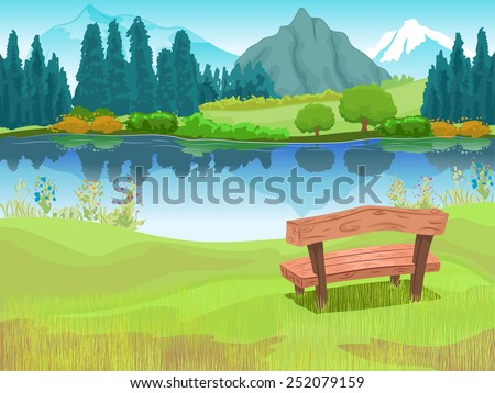 Illustration of Bench Sitting Beside a Lake Located at the Foot of a Mountain - stock vector