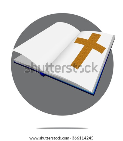 Illustration of bible with cross in green circle background - stock vector