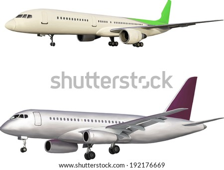 Illustration of big air plane isolated on white background. Vector illustration