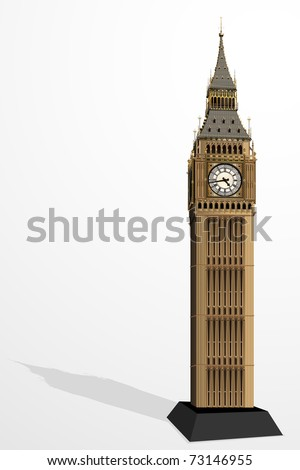 illustration of Big Ben Tower on plain background - stock vector