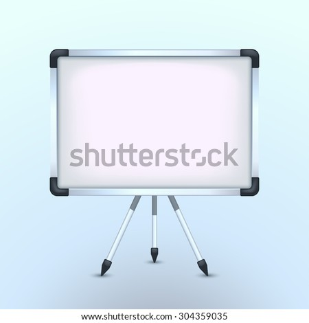 illustration of big flipchart standing with shadow on blue background - stock vector