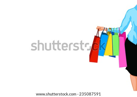 illustration of big sale. a lot of bags on womans hand - stock vector