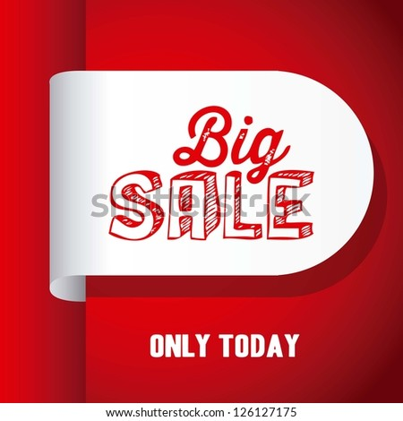 Illustration of  Big Sale label, in red color, vector illustration - stock vector